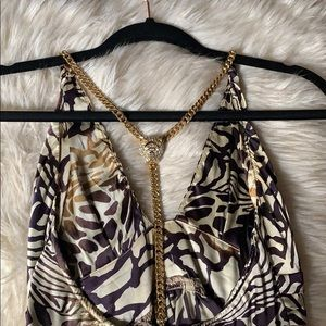 NWOT SKY Brand Gold Chain Animal Print Halter Top